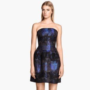H&M Bandeau Blue Blck Jacquard Mini Cocktail Dress
